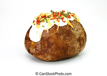 Loaded Baked Potato - Baked potato loaded with butter, sour...