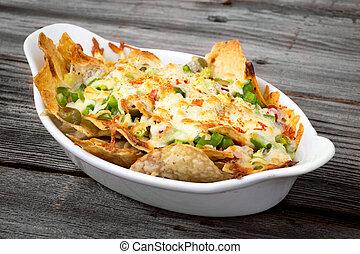 loaded cheese nachos bowl