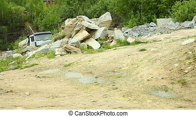 Loaded Truck in the quarry - Loaded Truck in the granite...
