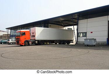 Loaded Truck leaving Factory