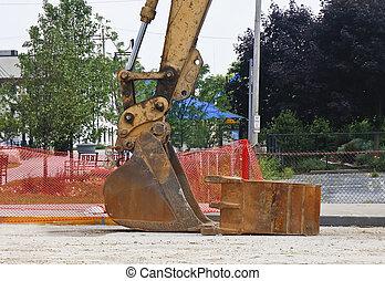 Loader Bucket at Street Construction