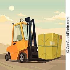 Loader car. Vector flat cartoon illustration