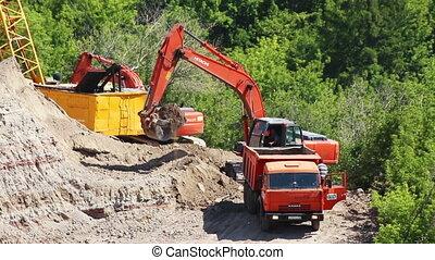 loader dump tipper loads of sand - timelapse