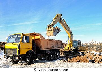 loader excavator and rear-end tipper - Excavator loading...
