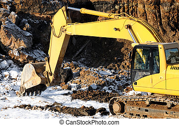 loader excavator in open cast - Yellow excavator loader at ...