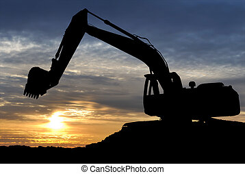 Loader excavator over sunset - silhouette of Excavator ...
