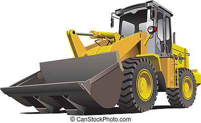 Loader front - Detailed vectorial image of pale brown loader...
