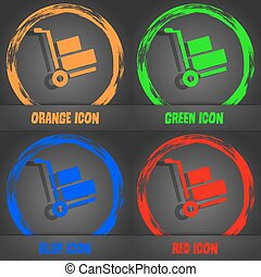 Loader icon. Fashionable modern style. In the orange, green, blue, red design. Vector