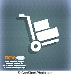 Loader icon. On the blue-green abstract background with shadow and space for your text. Vector