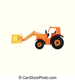 Loader tractor, agricultural machinery vector Illustration on a white background