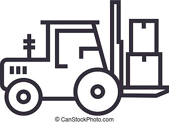 loader truck vector line icon, sign, illustration on background, editable strokes