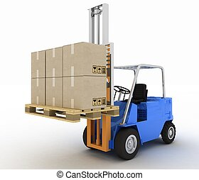 Loader with cargo on a white background