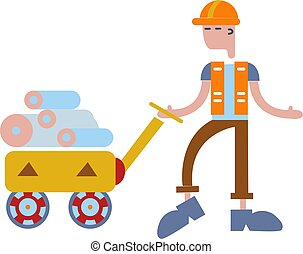 Loader worker man with rolls in the trolley. Person working in a warehouse. Delivery service. Concept for banners, infographics or pages. Flat vector illustration. Isolated on white background.