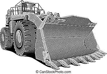 Loader_engraving - Detailed vectorial image of large dozer...