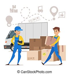 loaders movers man carrying cardboard boxes. Concept for home moving