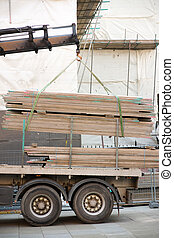 loading a truck at a building site