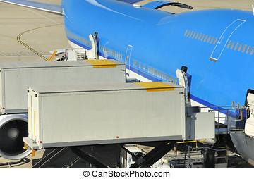 Loading an airplane