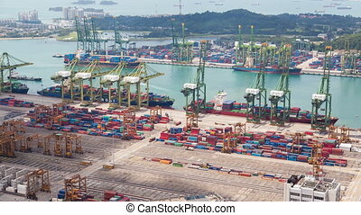 Loading and unloading of the vessel in port Singapore timelapse