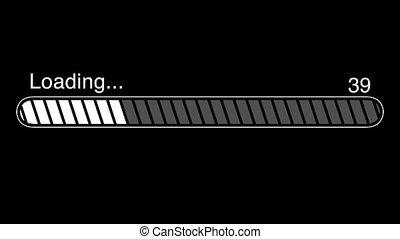Loading Bar Animation, Progress Bar On Computer Screen / Web Page - Black Background - 4K Ultra