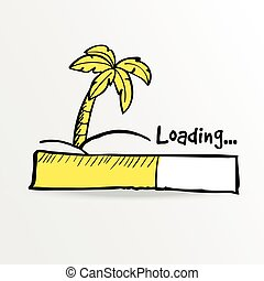 Loading bar. Palm on the tropical island, vector.