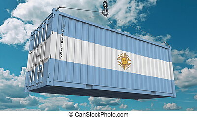 Loading cargo container with flag of Argentina. Argentinean import or export related conceptual 3D rendering