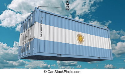 Loading cargo container with flag of Argentina. Argentinean...
