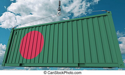 Loading cargo container with flag of Bangladesh. Bangladeshi import or export related conceptual 3D rendering