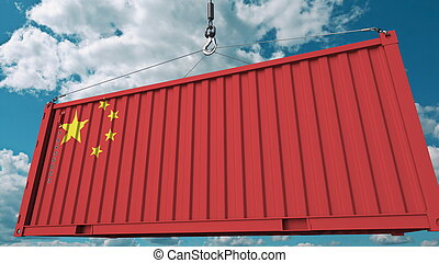 Loading cargo container with flag of China. Chinese import or export related conceptual 3D rendering