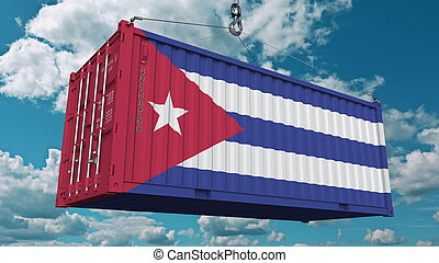 Loading cargo container with flag of Cuba. Cuban import or export related conceptual 3D rendering