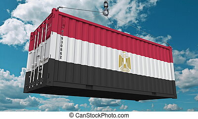 Loading cargo container with flag of Egypt. Egyptian import or export related conceptual 3D rendering