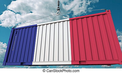 Loading cargo container with flag of France. French import or export related conceptual 3D rendering