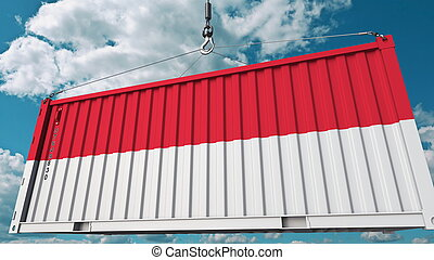 Loading cargo container with flag of Indonesia. Indonesian import or export related conceptual 3D rendering