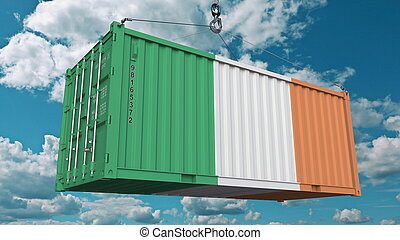 Loading cargo container with flag of Ireland. Irish import or export related conceptual 3D rendering