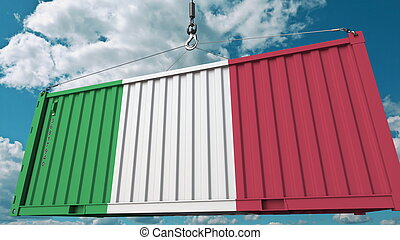 Loading cargo container with flag of Italy. Italian import or export related conceptual 3D rendering