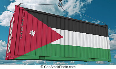 Loading cargo container with flag of Jordan. Jordanian import or export related conceptual 3D rendering