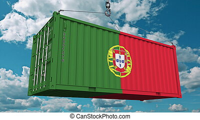 Loading cargo container with flag of Portugal. Portuguese import or export related conceptual 3D rendering