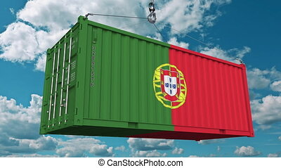 Loading cargo container with flag of Portugal. Portuguese...