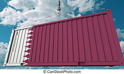 Loading cargo container with flag of Qatar. Qatari import or export related conceptual 3D rendering