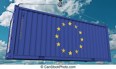Loading cargo container with flag of the EU. European Union import or export related conceptual 3D rendering