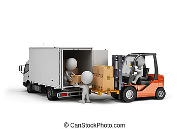 Loading cargo in the car - Forklift truck and car with...