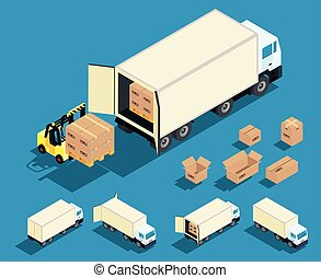 Loading cargo in the truck vector isometric