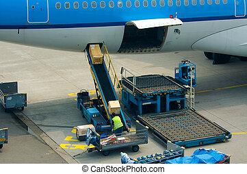 loading cargo on a big plane