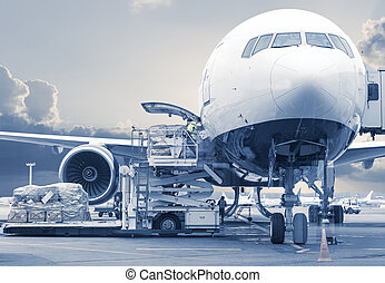 loading cargo picture in a blue toning