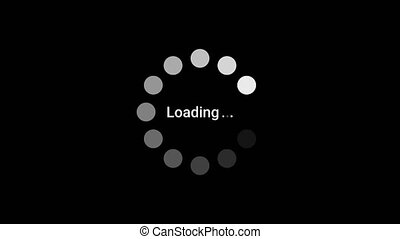 Loading circle icon animation on black background. Alpha channel.