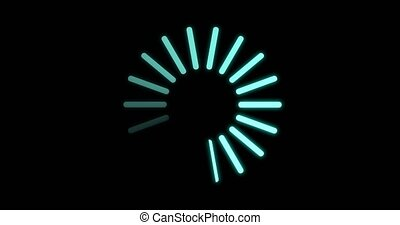 Loading circle icon on black background animation. for video introduction. 4K,HD,SD resolution.