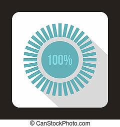 Loading circle,100 percent icon, flat style