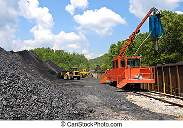 Large End Loaders loading a Stock Pile of Coal into Rail Cars and taking Samples
