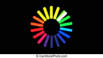 Loading color circle icon on black