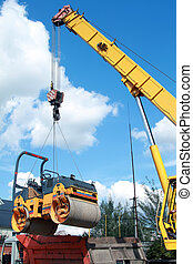 Loading compactor on the transportation machine using a...