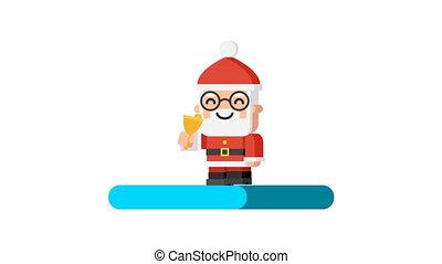 Loading concept Santa Claus ringing bell and walking